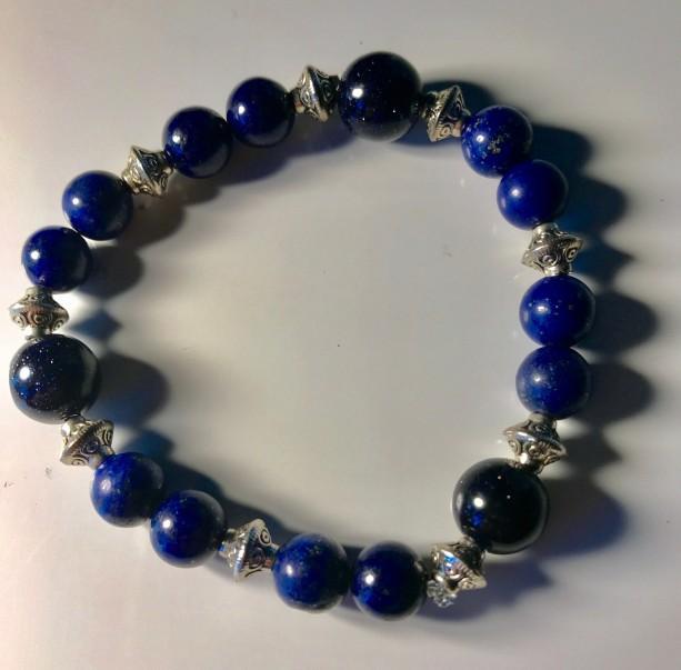 Exquisite, Gorgeous Lapis Lazuli/Blue Sandstone/Silver Bracelet