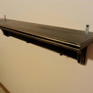 Coat hanger shelf in distressed black