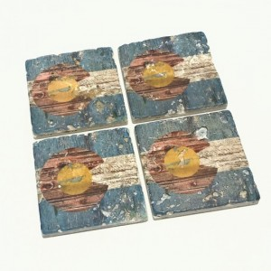 Colorado State Flag Natural Stone Coasters with Barnwood Look, Set of 4 with Full Cork Bottom