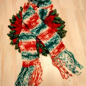 Christmas Funky Scarf, crochet scarf, ridge scarf, red scarf, green scarf, white scarf, christmas scarf, christmas, scarf, winter, outerwear