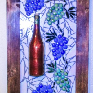"Large Wall Art, 28""x16"", MOSAIC WALL art, WIne, Grapes, Tuscan art, Tuscany, Personalizable, Wine Bottle,"