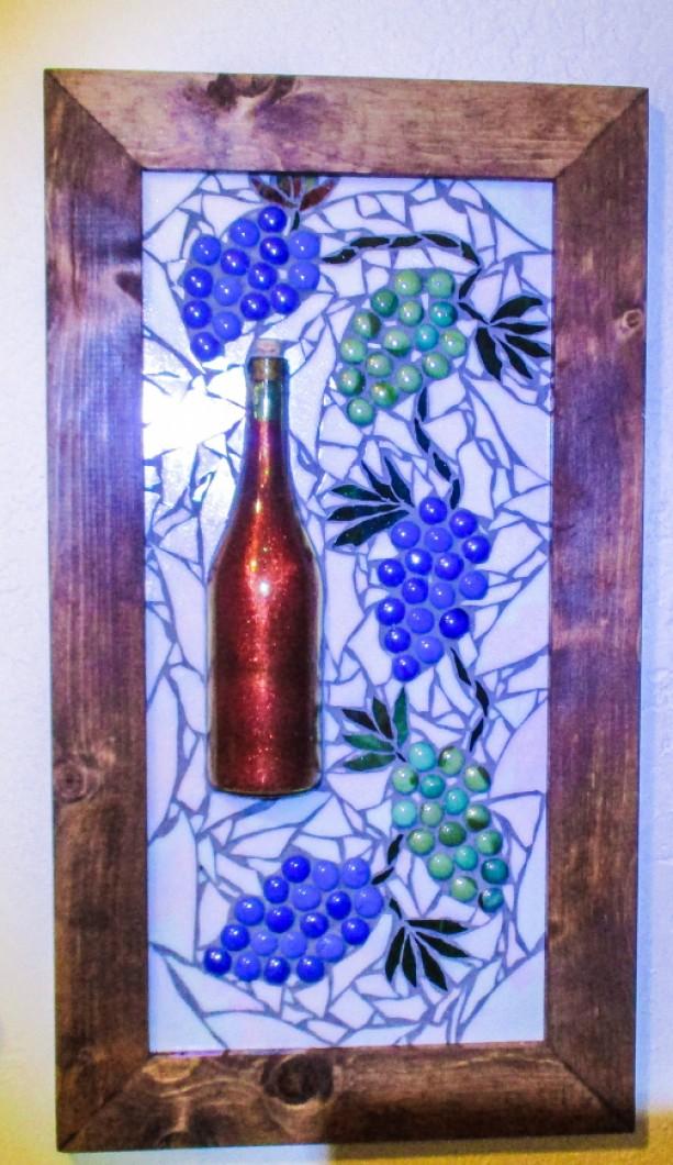 """Large Wall Art, 28""""x16"""", MOSAIC WALL art, WIne, Grapes, Tuscan art, Tuscany, Personalizable, Wine Bottle,"""