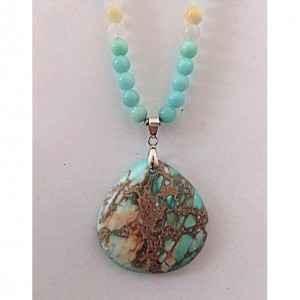 Mint Green Glass Beaded Sea Sediment Necklace