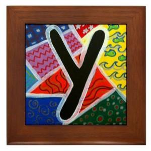 "Folk Art - Letter ""Y"" - FRAMED TILE By Artist A.V.Aposte"