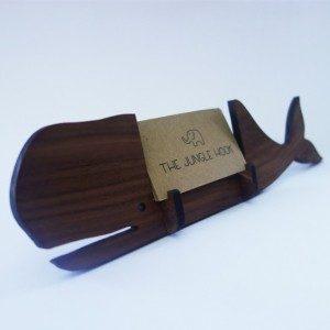 Whale business card holder for desk