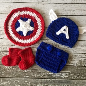 Captain America Inspired Costume/Captain America Hat/Captain America Shield/Baby Photo Prop- MADE TO ORDER