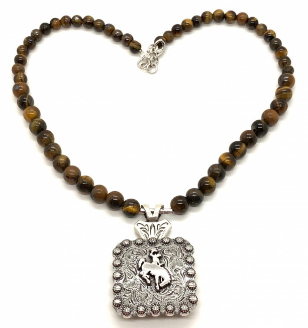 Bucking Bronc Concho Necklace with Tiger Eye