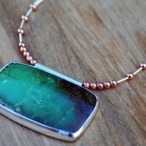 Fabulous! SEA FOAM GREEN Bio-Chrysoprase Cabochon Fancy Beaded Necklace