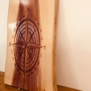 Wooden Engraved Compass, live edge wood, cedar live edge wood, wooden carving, wood engraving