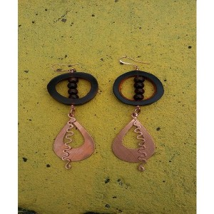 Peaceful Cooper/Wood Earrings