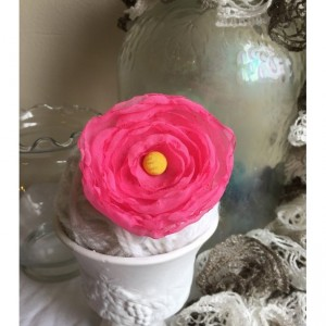 Tropical Pink Shabby Chic Floral Brooch