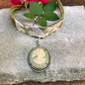 Vintage Avon Cameo Choker with Pea Green Ultrasuede Material and Lace