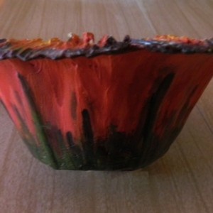 Floral Design Paper Mache Art Bowl