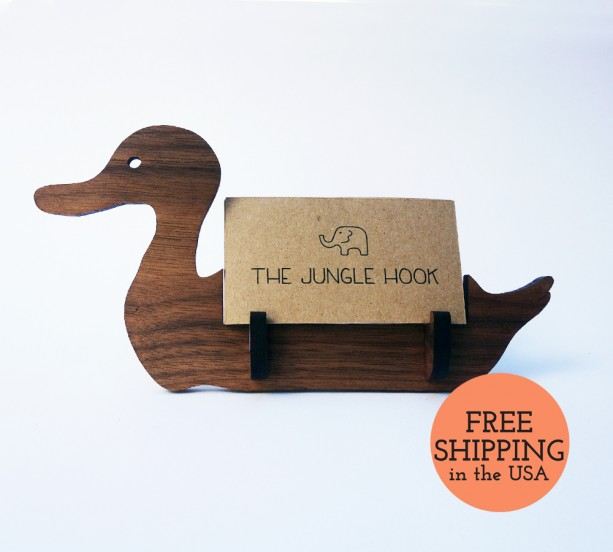Duck business card holder for desk