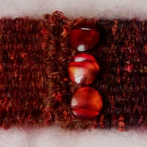 Red & Black Hand Woven Cuff Bracelet