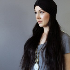 Soft Black Stretch Knit Turban Beanie