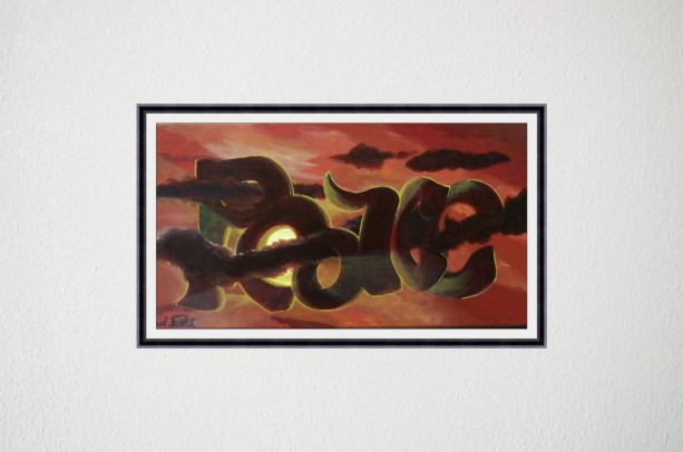 acrylic painting orange red sky with blood red clouds, sun and graffiti peace written in sky