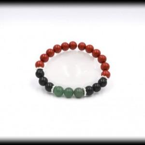 Red Jasper, Green Aventurine and Black Tourmaline Bracelet