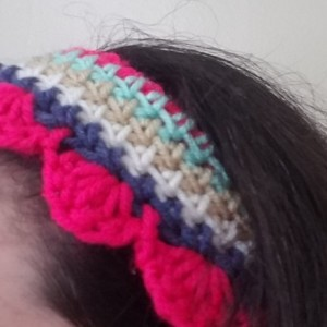 Crochet Striped Headband with Scallop Edging