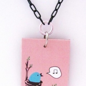 Singing Bird Necklace Bird Pendant Pink Necklace Music Necklace Music Note Necklace Black Necklace