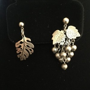 Vintage Sterling Married Mismatched Orphan Leaf Earrings Asymmetrical