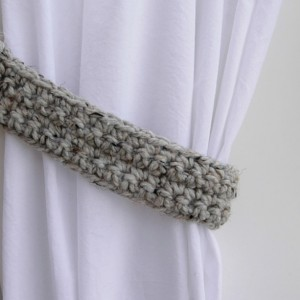 Light Gray Tweed Curtain Tiebacks Tie Backs Set, One Pair of Thick Drapery Holders, Grey Black Tan Crochet Knit, Basic Simple, Ready to Ship in 2 to 3 Days