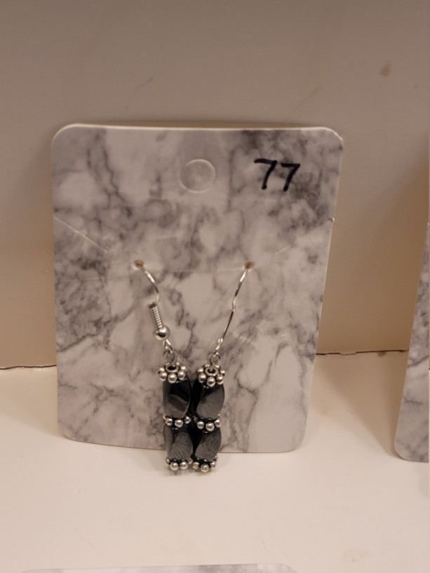 Black magnetic bead with silver accent earrings