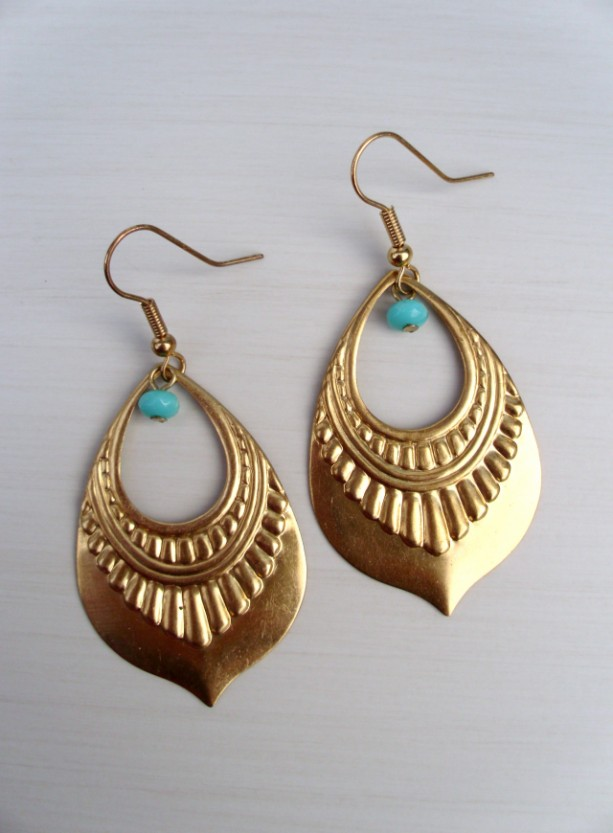 Br And Turquoise Egyptian Earrings