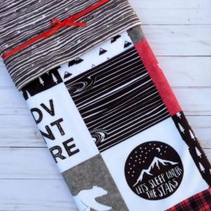 Bear Baby Blanket - Moose Baby Blanket - Designer Minky Baby Blanket - Woodland Baby Blanket - Gender Neutral - Black White Red