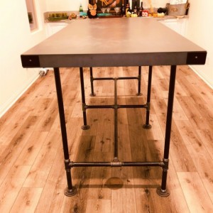 "Black Pipe Table Base Bar Height ""DIY"" Parts Kit, 1"" x 66"" long x 33"" wide x 40"" tall"