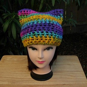 Colorful Rainbow Striped Pussy Cat Hat PussyHat, Soft Acrylic Pink, Purple, Yellow, Blue Crochet Knit Winter Beanie, Nasty Woman, Protest March, Ready to Ship in 2 Days