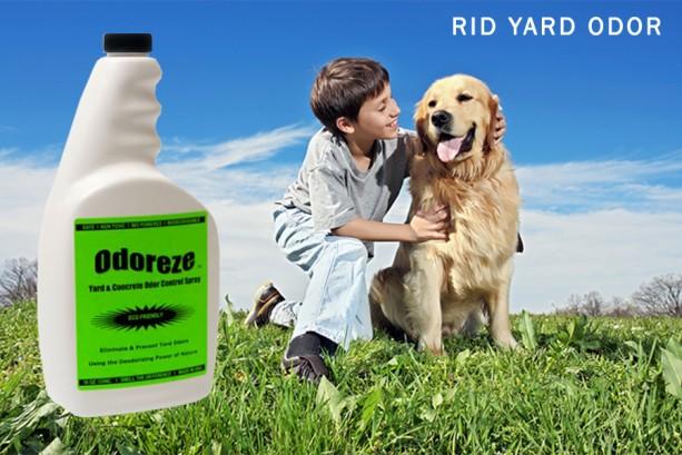 ODOREZE Natural Yard & Concrete Odor Eliminator Spray: Makes 64 Gal. to Stop Waste Stench