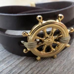 Men's Bracelet - Men's Nautical Bracelet - Men's Leather Bracelet - Men's Jewelry - Men's Gift - Present For Men - Husband Gift - Boyfriend