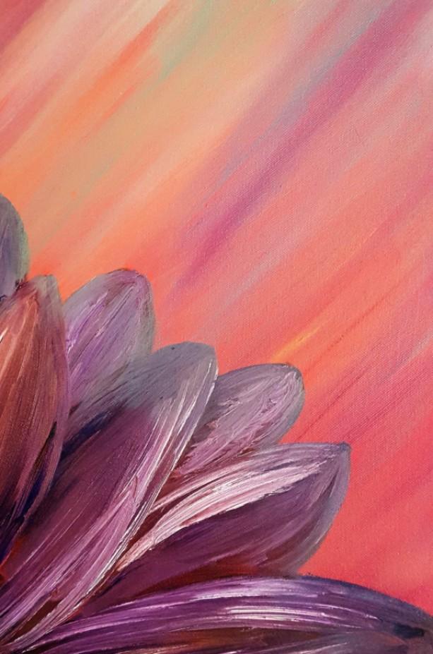 Oil Painting On Canvas Original Artwork Purple Red Fl Art