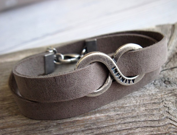 Men Bracelet - Men Leather Bracelet - Men Infinity Bracelet - Men Jewelry - Men Gift - Boyfriend Gift - Husband Gift - Present For Men