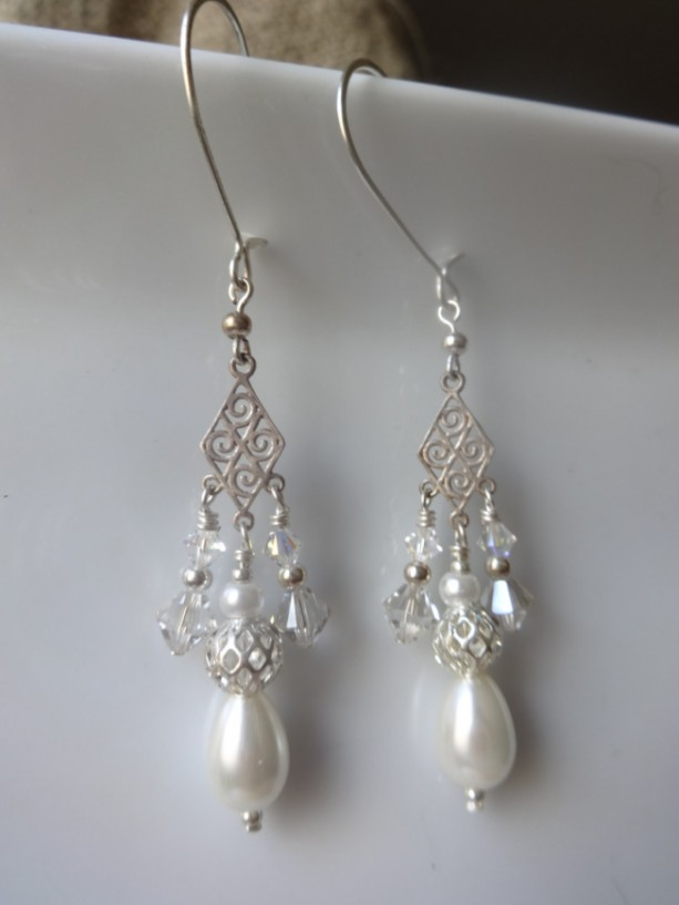 Fractal Teardrop Dangle Earrings
