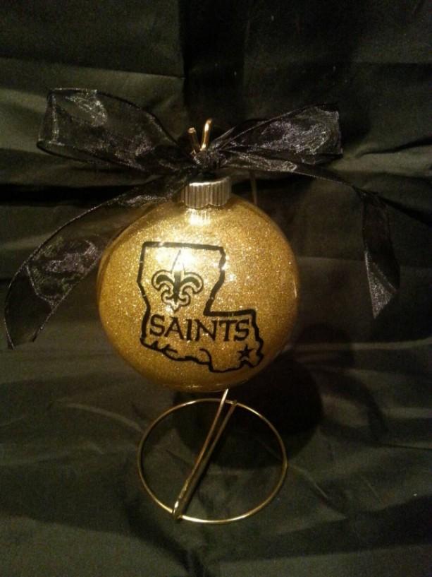 New Orleans Saints Christmas Ornaments Handmade Glittered