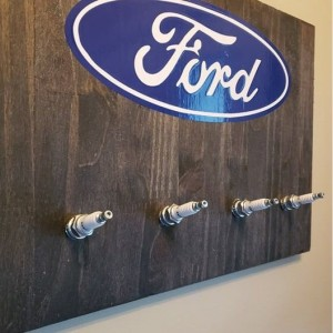 Ford Sign with Spark Plug Hooks