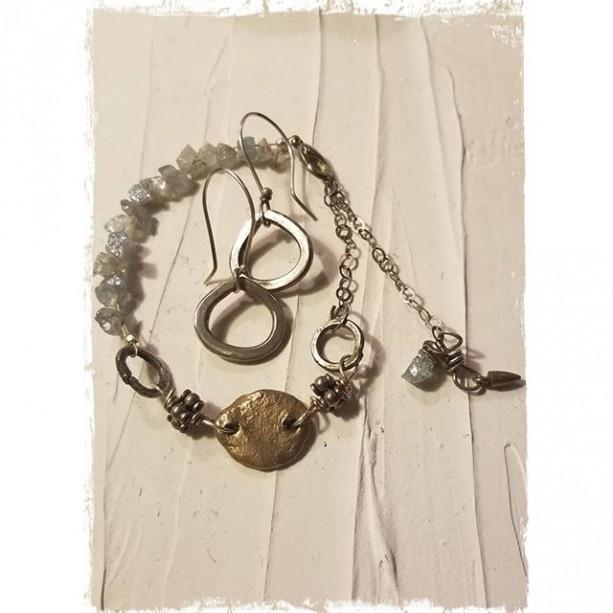 Aqua marine Sterling Silver bronze metal clay bracelet