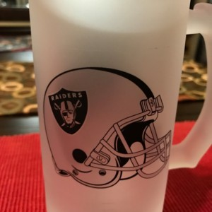 Custom Made Oakland Raiders Frosted Beer Stein 16 oz Glass Mug