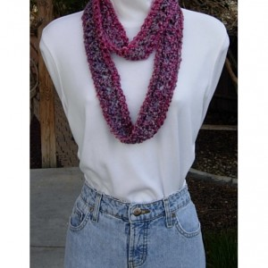 Small Summer Infinity SCARF, Vibrant Pink Purple Gray, Soft Acrylic Crochet Knit, Skinny Narrow Lightweight Cowl, Ready to Ship in 2 Days