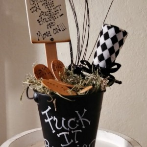 Adult Humor Fuck It Bucket  Handmade Décor  Black Bucket F Bomb Gifts