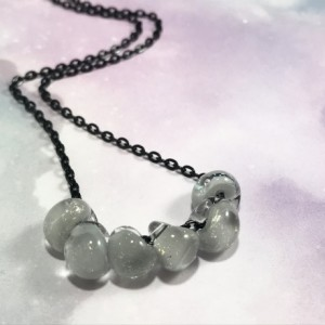 The Mia | handmade lampwork glass bead necklace, black rolo chain, minimalist jewelry, unicorne glass drops, Gifts for Her
