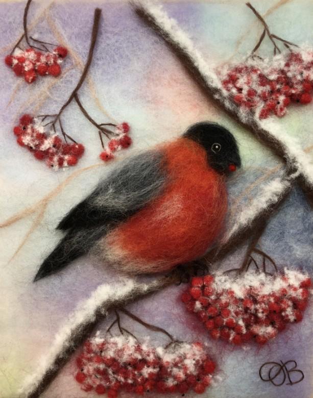 "Wool Painting ""Bullfinch on an ash tree"""
