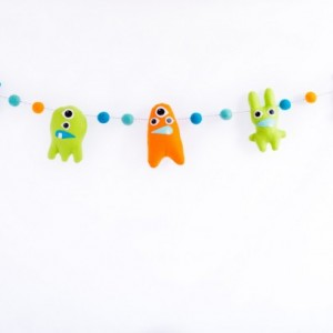 Monster banner, Wool felt ball garland with monsters, Monster theme nursery decor, Baby boy nursery decorations, Monster nursery decor