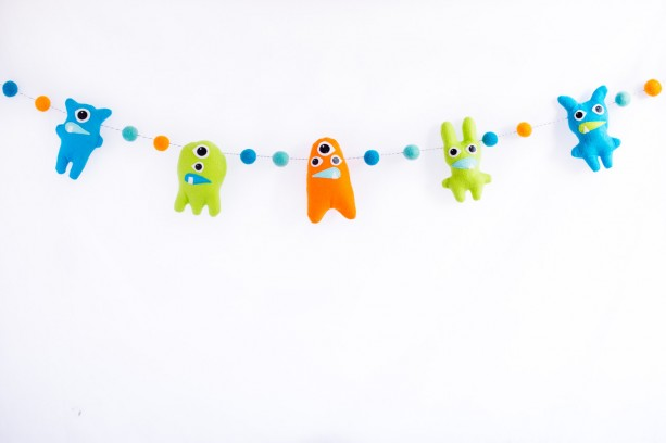 Monster banner, Wool felt ball garland with monsters, Monster theme nursery decor, Baby boy nursery decorations, Monster nursery decor