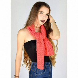 Scarf. Scarves. Crochet scarf coral color. Beautiful hand-woven scarves with fine thread of vibrant coral color. Complements. Accesories