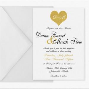Black and Gold Printable Wedding Invitation , Gold Glitter Heart , Digital Invitation , Modern and Elegant , Customized