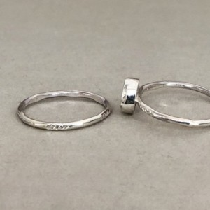 Size 5 1/2 Tiny Stacking Ring Set with Red Sea Glass