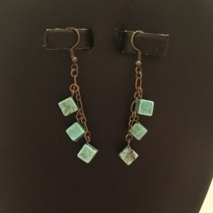 Antique Brass with Dyed Magnesite Cubes Dangle Earrings